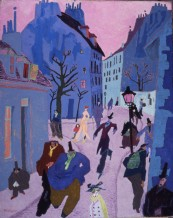 Lyonel Feininger. In a Village Near Paris (Street in Paris, Pink Sky), 1909. Photo Credit: © Lyonel Feininger Family, LLC./Artists Rights Society (ARS), New York.