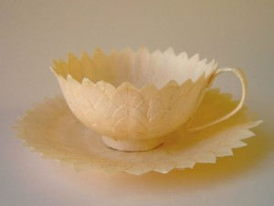 A teacup made out of paper mache by paper artist Cecilia Levy. Photo Courtesy of: Cecilia Levy.