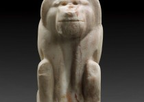 """Baboon statue."" Dynasty 0, reign of Narmer (ca. 3100 B.C.). Travertine. Ägyptisches Museum und Papyrussammlung, Staatliche Museen zu Berlin. Photo Courtesy of: The Metropolitan Museum of Art."