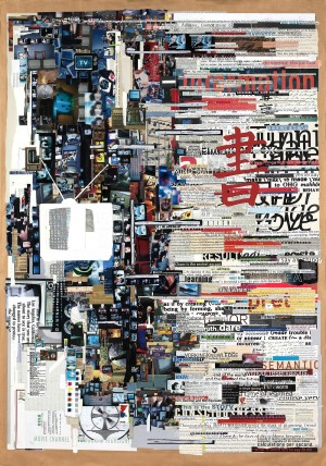 """Media Less Words,"" 2007, 42in x 60 in, paper on paper, by Tm Gratkowski. Photo Courtesy of: Tm Gratkowski."