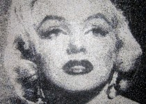 Marilyn Monroe made with about 99,000 dots on wood. 160cm by 122cm. Completed December 2010. Photo Courtesy of: Nikki Douthwaite.