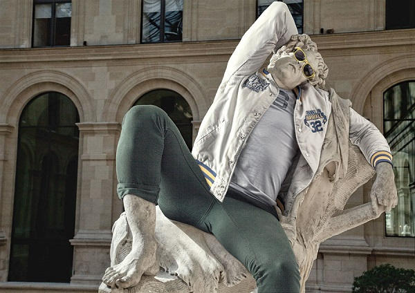 """An image of one of the sculptures, dressed in street wear, from the """"Street Stone"""" series, created by artists Léo Caillard and Alexis Persani. Photo Courtesy Of: Léo Caillard."""
