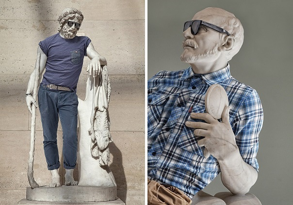 "An image of one of the sculptures, dressed in street wear, from the ""Street Stone"" series, created by artists Léo Caillard and Alexis Persani. Photo Courtesy Of: Léo Caillard."
