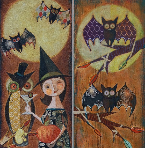 (Left) Night Owls and (right) Fraidy Bats by Melissa Belanger. Photo Courtesy of: Melissa Belanger.