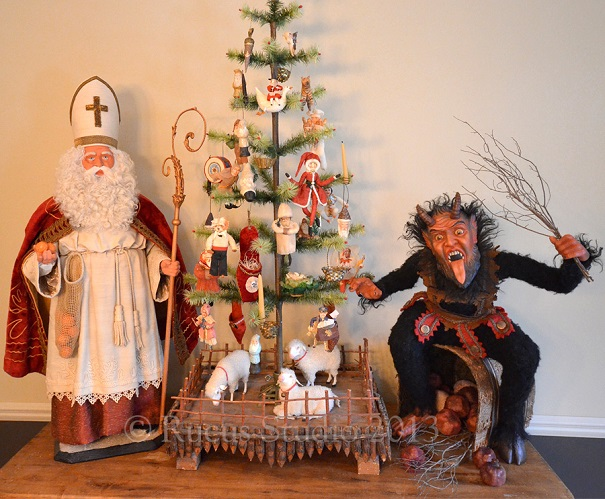Saint Nicholas and Krampus by artist Scott Smith of Rucus Studio. Photo Courtesy of: Scott Smith/Rucus Studio.