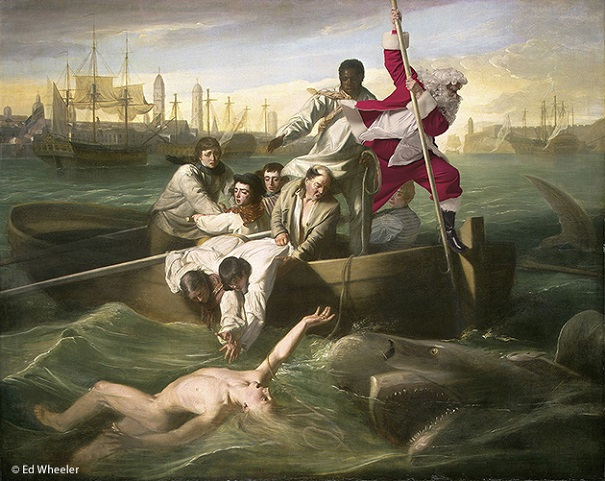 "A rendition of John Singleton Copley's painting ""Watson and the Shark"" by artist Ed Wheeler. Photo Credit: Ed Wheeler."