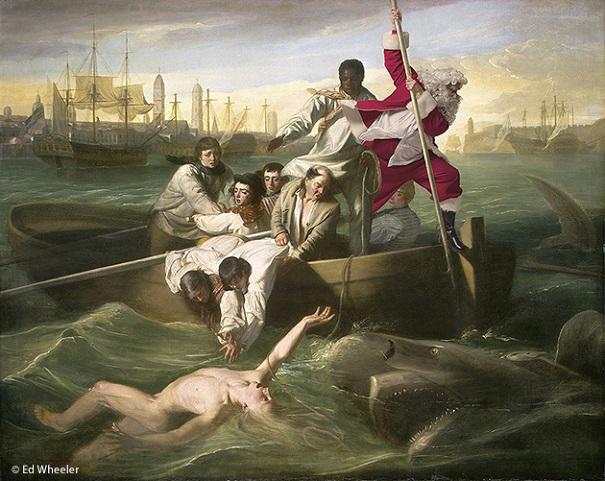 "A rendition of John Singleton Copley's painting ""Watson and the Shark"" by artist Ed Wheeler. Photo Credit: Ed Wheeler."