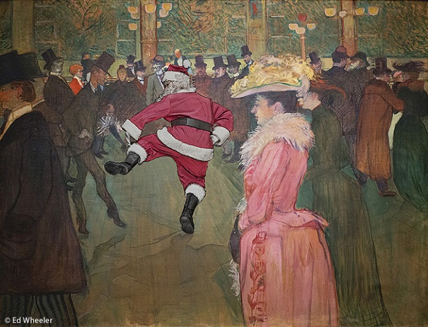 "A rendition of Henri de Toulouse-Lautrec's painting ""At the Moulin Rouge"" by artist Ed Wheeler. Photo Credit: Ed Wheeler."