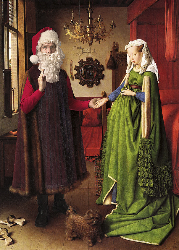 "A rendition of Jan van Eyck's ""Arnolfini Portrait"" by artist Ed Wheeler. Photo Credit: Ed Wheeler."