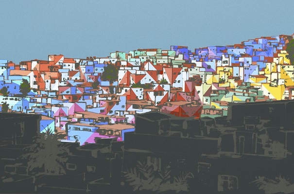 A sketch of one of the favela neighborhoods to be painted. Photo Credit: Haas & Hahn.