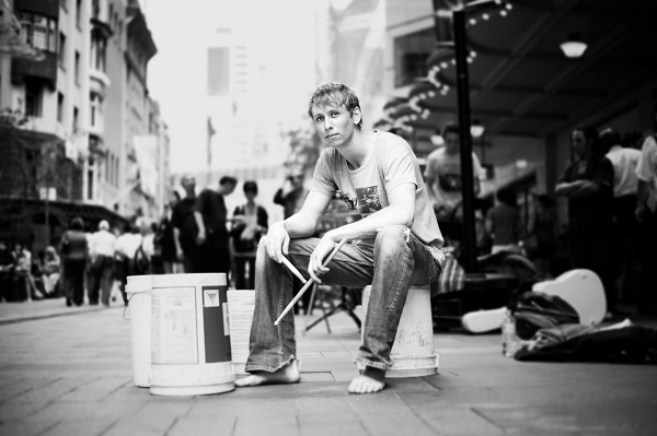 Australian street drummer Gordo. Photo Courtesy of: Gordo.