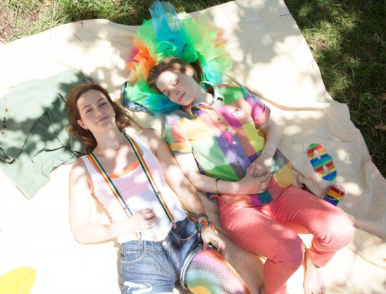 Best friends Sasha (Leighton Meester) and Paige (Gillian Jacobs) show their pride. Photo Credit: Erik Lang.