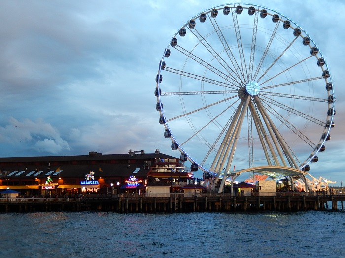 Opened in June 2012, the Seattle Great Wheel is a 175-foot (53.34-meter) Ferris wheel featuring 42 climate-controlled gondolas each holding up to six passengers. It is located at Pier 57 in the city's Central Waterfront district. Photo Credit: Benjamin Mack/GALO Magazine.