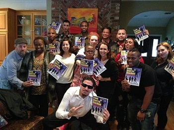 Actors with Lisa London's new book. Photo courtesy of Lisa London.