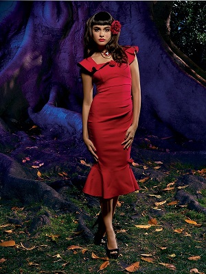La Muerte Retro Goddess dress. Photo Credit: Hot Topic/Rogers and Cowan.