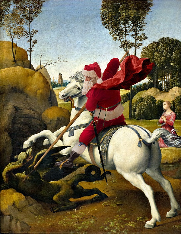 "Ed Wheeler recreates Raphael's ""St. George and the Dragon Final."" Photo Credit: Ed Wheeler."