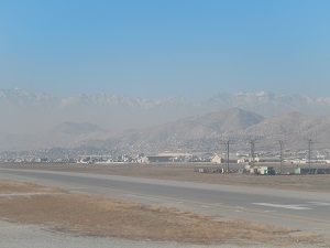 A picture taken from the tarmac at Kabul's airport. Photo Credit: Benjamin S. Mack/ GALO Magazine.