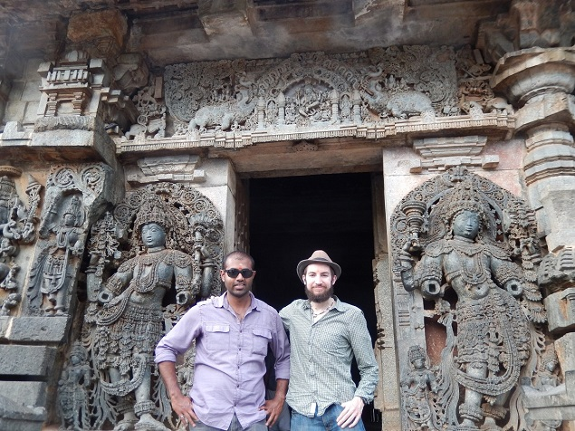 Benjamin Mack and his friend Kesi at the Hoysaleswara Temple. Photo Credit: Benjamin Mack/GALO Magazine.