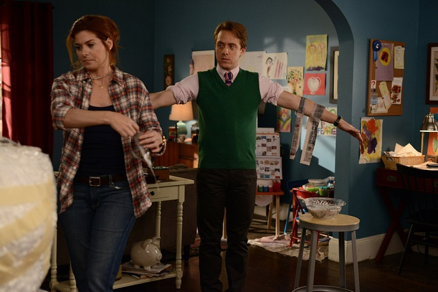 "Debra Messing and Max Max Jenkins in ""The Mysteries of Laura."" Photo Credit: Nicole Rivelli/NBC."