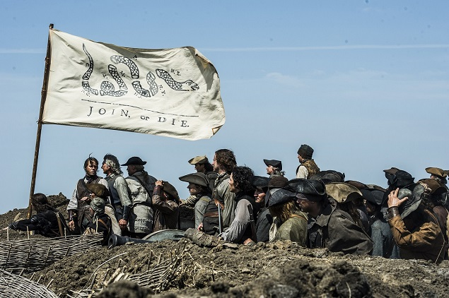 """Sons of Liberty"": Join, or Die. Photo by Ollie Upton/HISTORY. Copyright 2015."