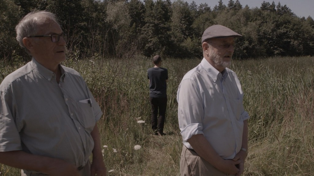 Horst von Wächter, Niklas Frank and Philippe Sands at the site of a mass grave outside Zhovkva, Ukraine. Photo: Sam Hardy.