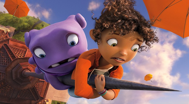 "Oh (voiced by Jim Parsons) and Tip (voiced by Rihanna) in DreamWorks Animation's ""Home."" Photo Credit: Home © 2015 DreamWorks Animation LLC. All Rights Reserved."