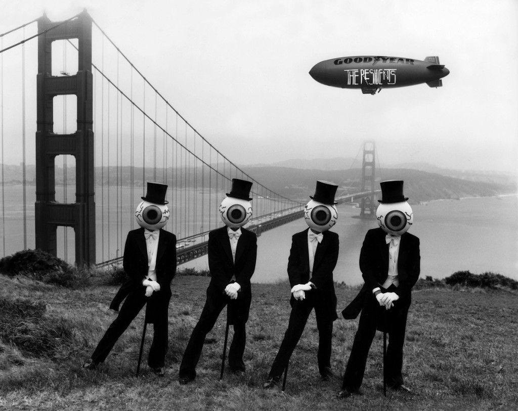 The Residents classic photo in front of the Golden Gate Bridge. Photo Credit: Poor Know Graphics.