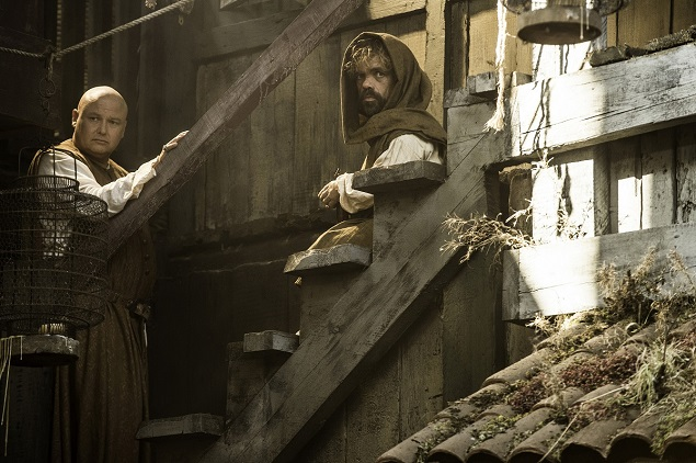 Conleth Hill and Peter Dinklage as Varys and Tyrion Lannister. Photo Credit: Helen Sloan/courtesy of HBO.