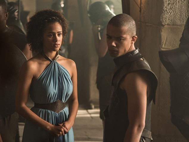 Nathalie Emmanuel as Missandei, Jacob Anderson as Grey Worm. Photo Credit: Helen Sloan/courtesy of HBO.