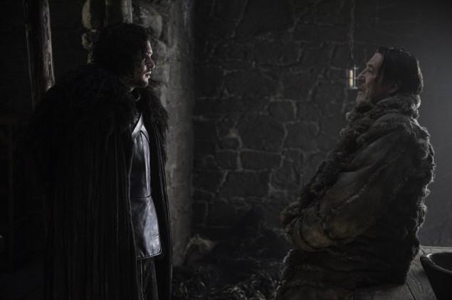 Kit Harington as Jon Snow, Ciaran Hinds as Mance Rayder. Photo Credit: Helen Sloan/courtesy of HBO.