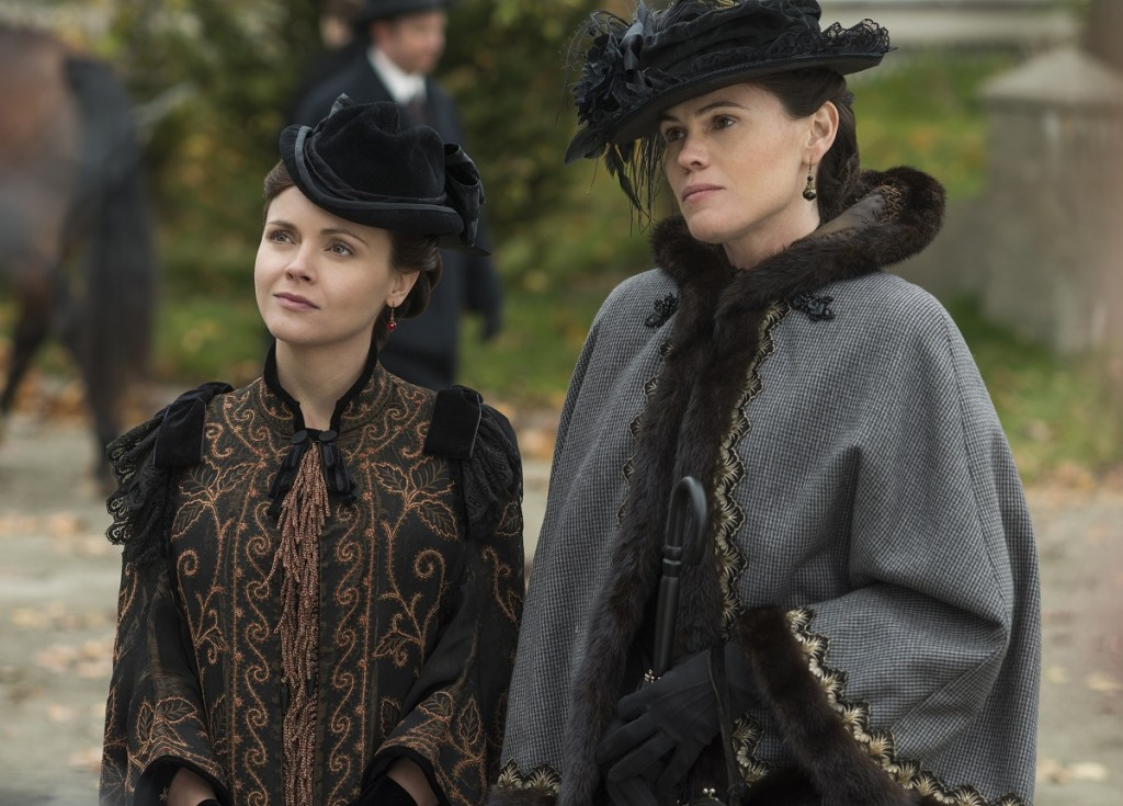 """(L to R) Christina Ricci (""""Lizzie Borden"""") and Clea DuVall (""""Emma Borden"""") star in the all-new Lifetime Original Limited Series, The Lizzie Borden Chronicles. Photo Credit: Chris Reardon. Copyright 2015."""
