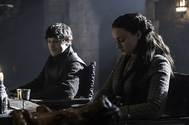 """Game of Thrones"" season 5, episode 5: Iwan Rheon, Sophie Turner. Photo: Helen Sloan/courtesy of HBO."