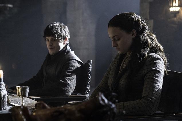 """Game of Thrones"" season 5, episode 5: Iwan Rheon, Sophie Turner. Photo: Helen Sloan/courtesy of HBO."