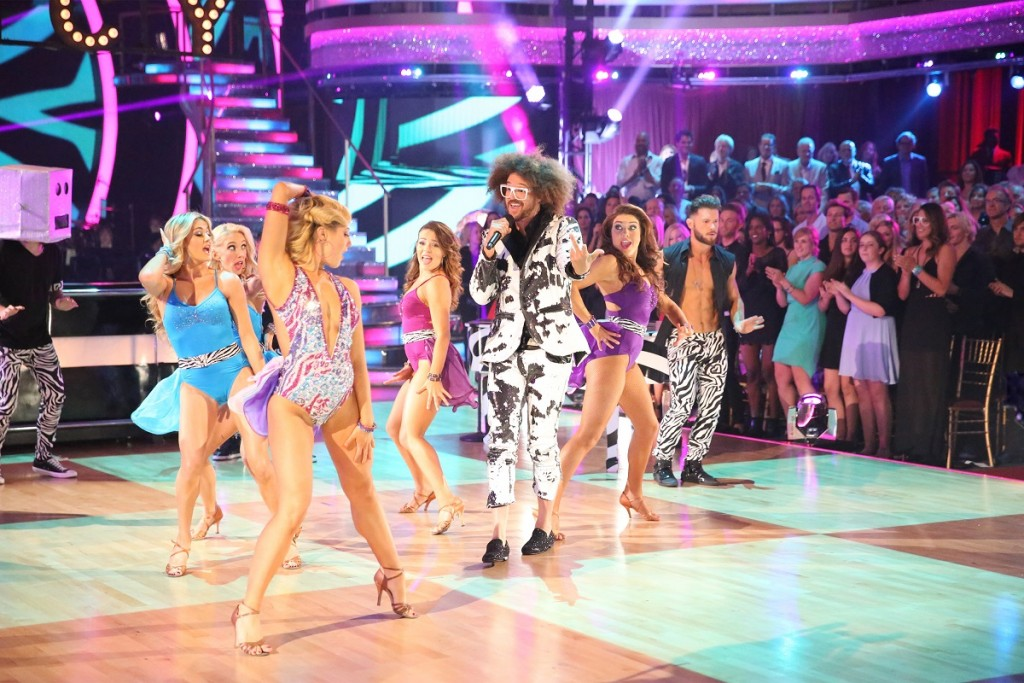 "Emma Slater and Redfoo dance to ""Juicy Wiggle"" during the two-hour season finale of DWTS on ABC. Photo: ABC/Adam Taylor."