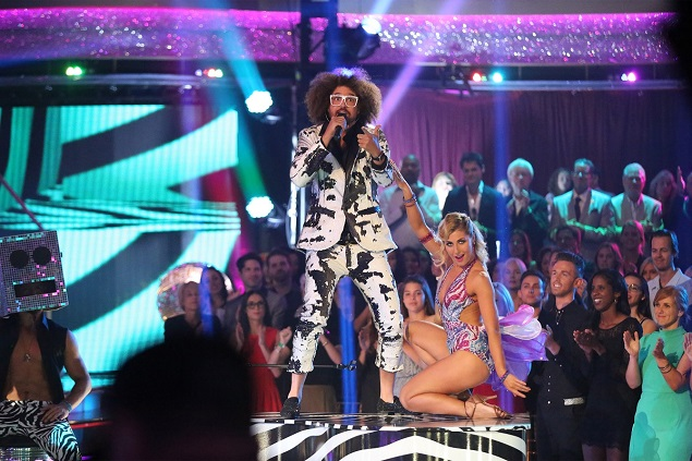 "Emma Slater and Redfoo dance to ""Juicy Wiggle"" during the season finale of DWTS on ABC. Photo: ABC/Adam Taylor."