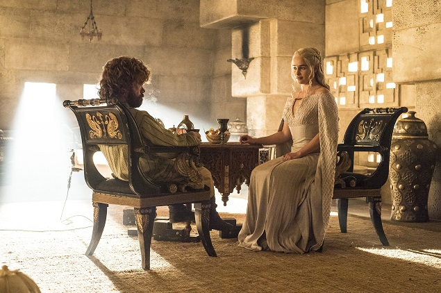 Peter Dinklage and Emilia Clarke in Game of Thrones' season 5, episode 8. Photo: Helen Sloan/courtesy of HBO.