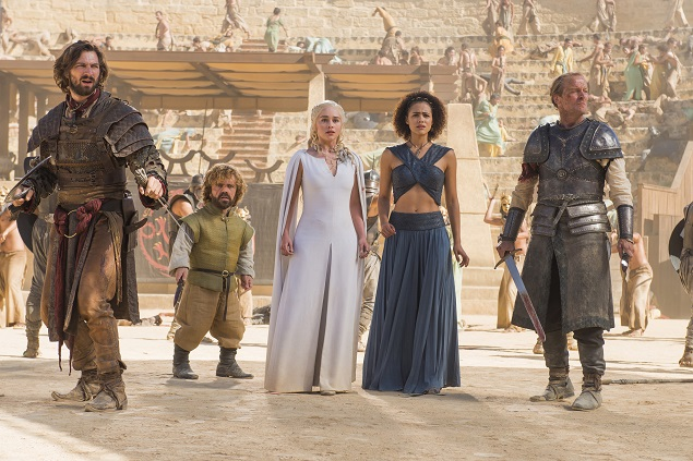 Michiel Huisman, Peter Dinklage, Emilia Clarke, Nathalie Emmanuel, and Iain Glen star in 'Game of Thrones' season 5, episode 9. Photo: Nick Wall/courtesy of HBO.