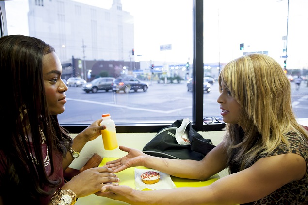 """Mya Taylor and Kitana Kiki Rodriguez in """"Tangerine,"""" a Magnolia Pictures release. Photo courtesy of Magnolia Pictures."""