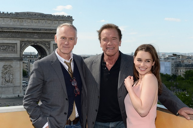 "Director Alan Taylor and actors Arnold Schwarzenegger and Emilia Clarke pose during a photo call of ""Terminator Genisys"" in France's Publicis Champs-Elysées. Photo: Dominique Charriau/Getty Images for Paramount Pictures."