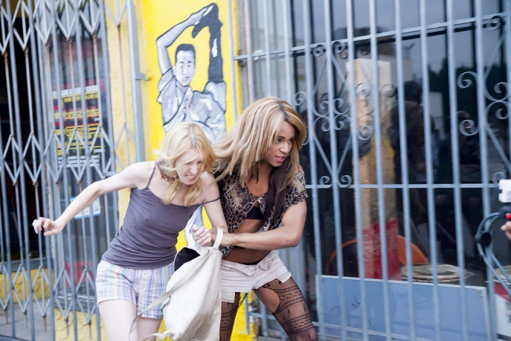 """Mickey O'Hagan and Kitana Kiki Rodriguez in """"Tangerine,"""" a Magnolia Pictures release. Photo courtesy of Magnolia Pictures."""