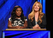 Uzo Aduba, left, and Cat Deeley speak at the 67th Primetime Emmy Nominations Announcement at the Pacific Design Center on Thursday, July 16, 2015, in West Hollywood, Calif. (Photo by Vince Bucci/Invision for the Television Academy/AP Images)