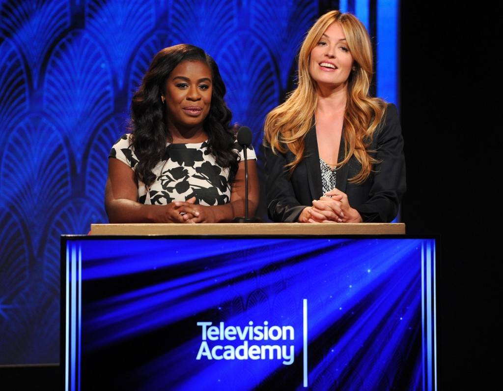 Uzo Aduba and Cat Deeley announce the 67th Primetime Emmy Awards nominees at the Pacific Design Center on Thursday, July 16, 2015, in West Hollywood, Calif. Photo: Vince Bucci/Invision for the Television Academy/AP Images.