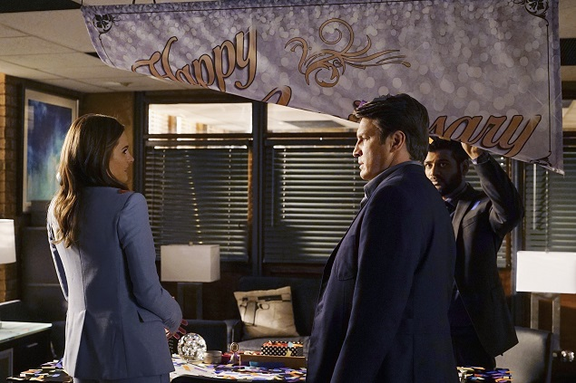 "Stana Katic, Nathan Fillion and Sunkrish Bala star in ABC's ""Castle"" episode 807. Photo Credit: ABC/Richard Cartwright."
