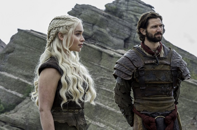 Emilia Clarke as Dany and Michiel Huisman as Daario Naharis in Season 6 of Game of Thrones. Photo Credit: Macall B. Polay/courtesy of HBO.
