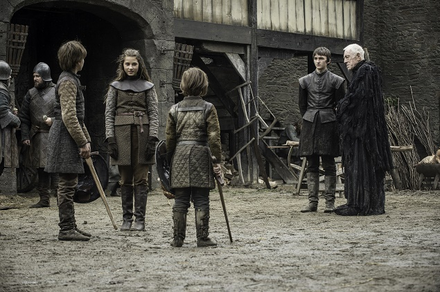 Pictured: Actors Sebastian Croft, Cordelia Hill, Matteo Elezi, Isaac Hempstead Wright and Max von Sydow in GoT. Photo Credit: Helen Sloan/ courtesy of HBO.