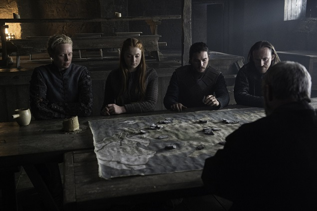 Gwendoline Christie as Brienne, Sophie Turner as Sansa, Kit Harington as Jon, Ben Crompton as Eddison, and Liam Cunningham as Ser Davos in Season 6 of GoT. Photo Credit: Helen Sloan/courtesy of HBO.
