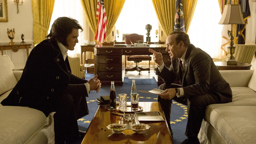 Michael Shannon (left) stars as Elvis Presley and Kevin Spacey (right) stars as President Richard Nixon in Liza Johnson's Elvis & Nixon, a Bleecker Street release. Photo Credit: Steve Dietl.