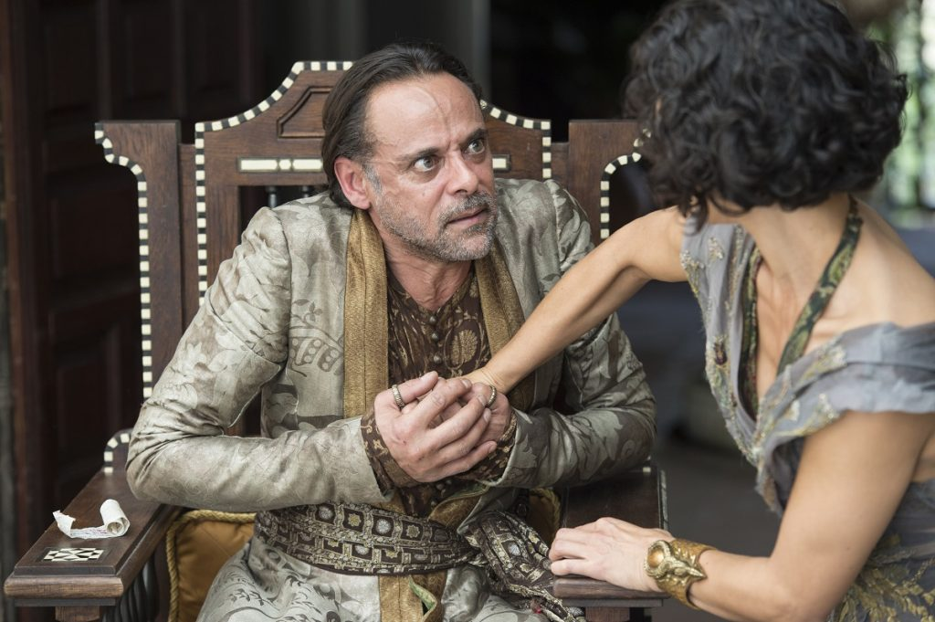 Pictured: Alexander Siddig, Indira Varma in Season 6, episode 1 of Game of Thrones. Photo Credit: Macall B. Polay/courtesy of HBO.