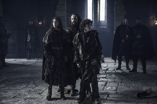 Natalia Tena (Osha), Dean Jagger (Smalljon Umber) and Art Parkinson (Rickon Stark) star in Game of Thrones Season 6, episode 3. Photo Credit: Helen Sloan/courtesy of HBO.