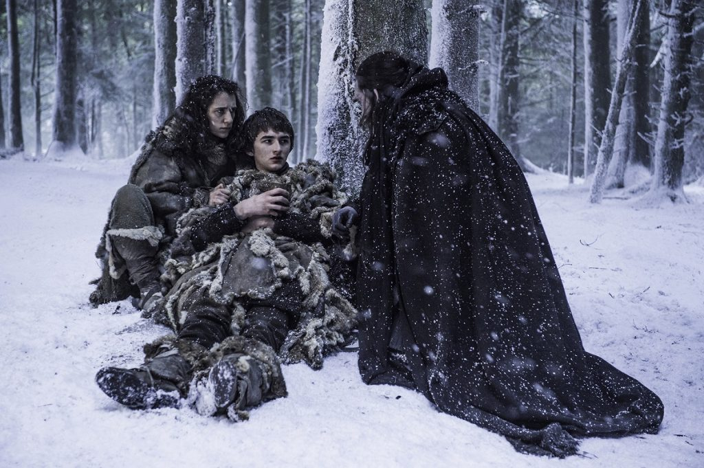 Ellie Kendrick as Meera Reed, Isaac Hempstead Wright as Bran Stark and Joseph Mawle as Uncle Benjen in Season 6 of Game of Thrones. Photo Credit: Helen Sloan/courtesy of HBO.